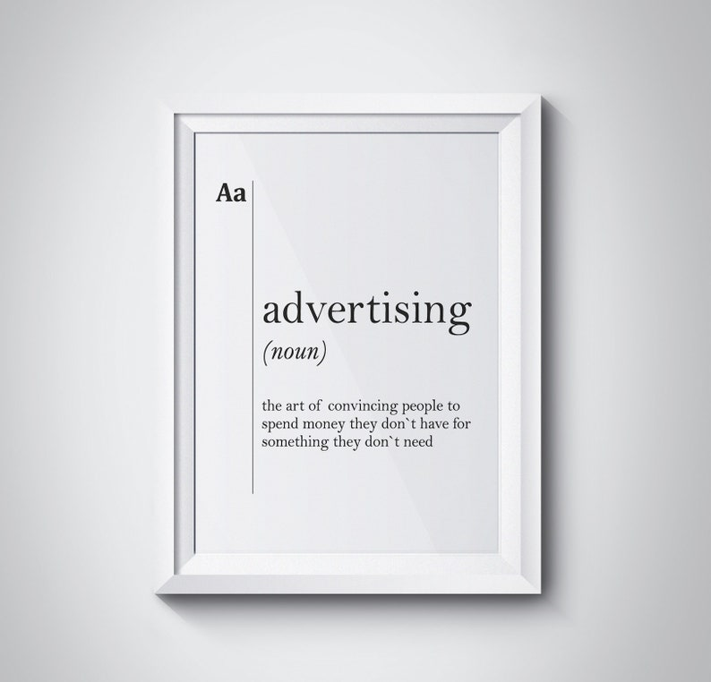 Advertising Definition Print Marketing Office Wall Art Boss Gift Adv Poster  Agency Wall Art Poster Scandinavian Decor Typography Dictionary