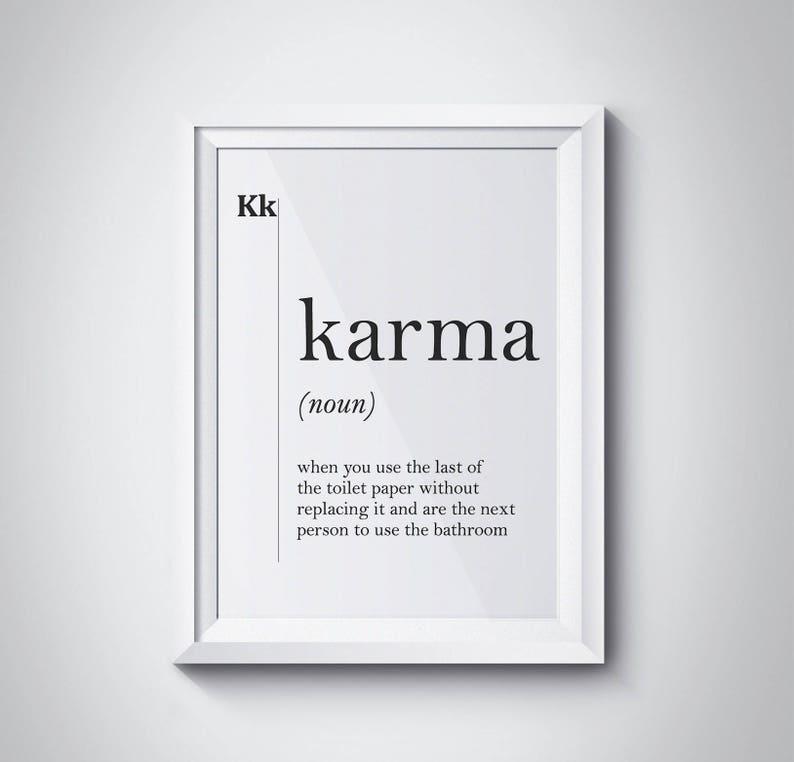 Karma-Definition drucken Karma Poster Badezimmer Dekor | Etsy
