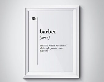 Barber Definition Print Gift for Barber Hairdresser Gift Stylist Coworker Barbershop Wall Art Gift Typography Professions Dictionary Poster
