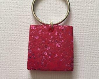 Bright Pink Sparkle-Glitter Square Keyring