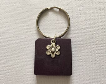 Deep Purple With Flower Square Keyring