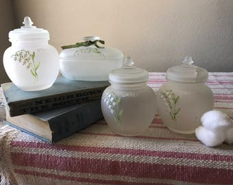 Antique Hand Painted Frosted Bathroom Jars