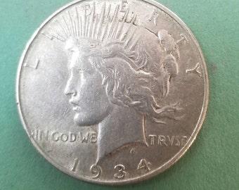 1934d semi key date peace dollar very fine or so coin