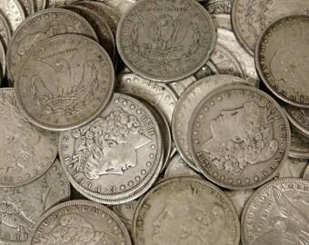 morgan dollar 5 random date silver dollar nice circulated condition silver dollar