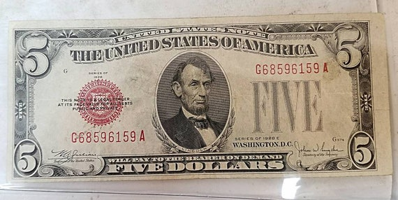 1928 5 dollar red silver certificate rare old note series