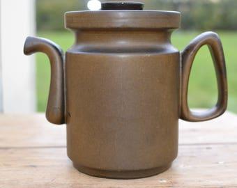Midcentury ceramic sixties Cor Unum vintage Dutch design by Zweitse Landsheer brown modernist earthenware tableware coffeepot / teapot