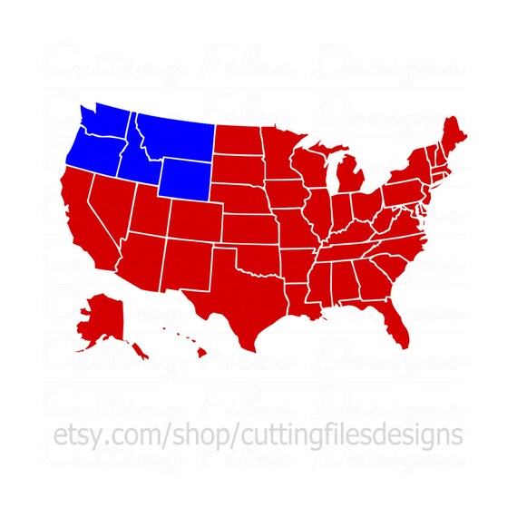 Us Map W Separated States Svg Cutting File Wpng For Cricut Etsy - Us-map-separated-by-region