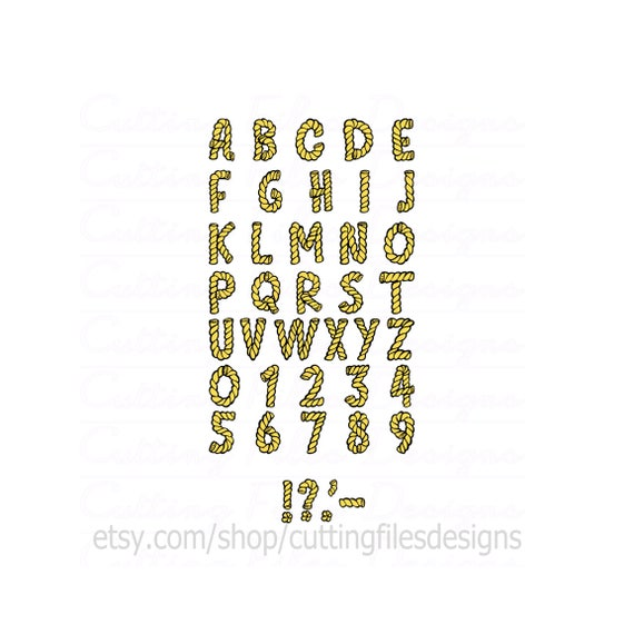 Rope Font Letters Alphabet SVG Cutting File W PNG For Cricut