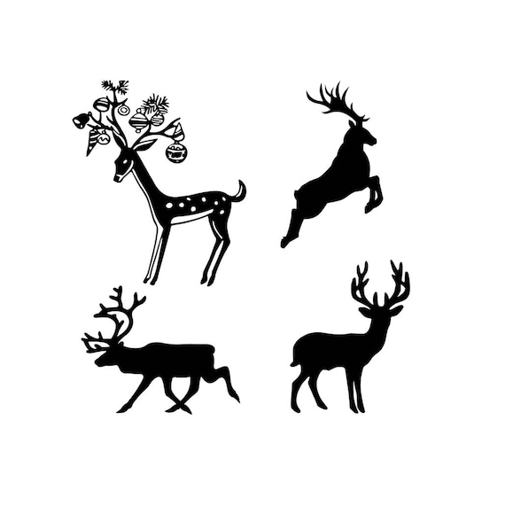 Christmas Reindeer Silhouette.Christmas Reindeer Svg Design Cutting File Also Includes Png For Cricut Design Space And Silhouette Studio Commercial Use