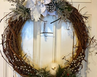 Snowflake Grapevine Wreath With Owl