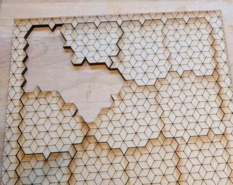 "12 Piece ""Cubes"" Laser Cut Jigsaw Puzzle DIGITAL FILE"