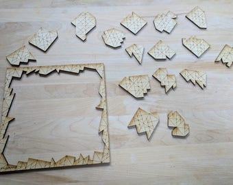 "16 Piece ""Tangrams"" Laser Cut Jigsaw Puzzle DIGITAL FILE"