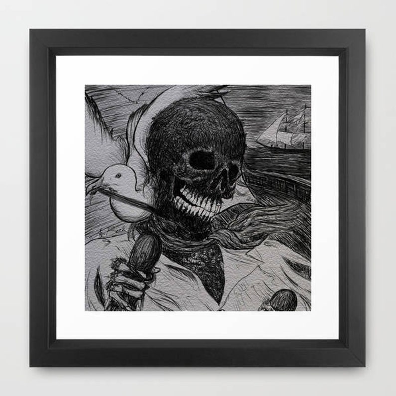Y su nombre era Muerte The adventuresof Arthur Gordon Pym Edgar Allan Poe  PRINT of an illustration by Andrea Beré