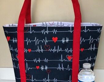 5b624327d0d3 Medical Professional Tote Bag    Gift for Nurse    Doctor Gift    Heartbeat  EKG Bag