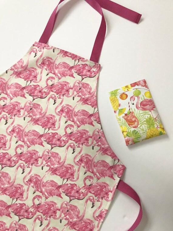 Pink Flamingo Apron  Women/'s Apron  Kitchen Apron  Flamingo Decor