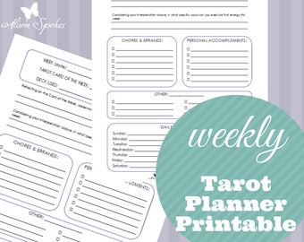 Tarot Weekly Planner Printable - Letter Size