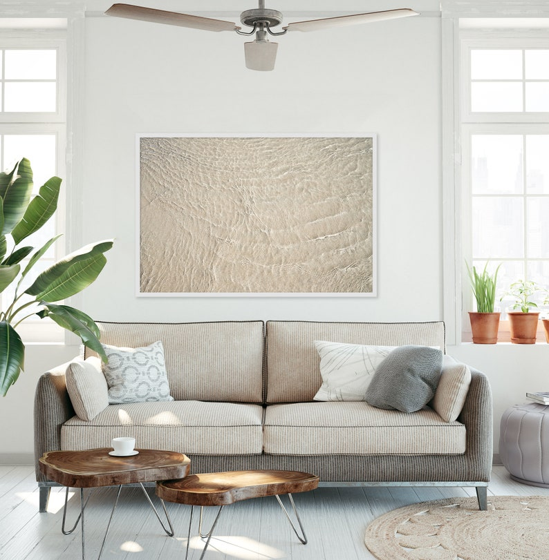 Abstract Art Oversized Framed Art Beach Pictures Water Ripples Nature Photography Living Room Wall Decor Neutral Colors
