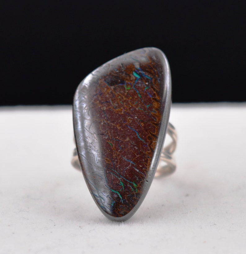 Boulder Opal Ring 6.7 grams T55 Natural Silver Ring