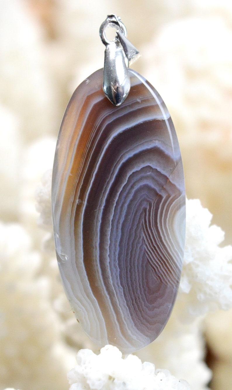 Agate 36 carats Botswana  Ref AT29 pendentif cabochon pierre naturelle