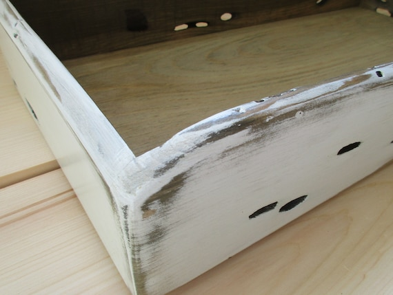 Plateau en bois rustique xxlarge blanc crème organisateur de