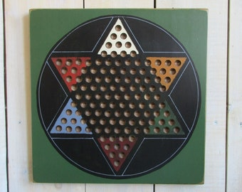 Handmade Wood Chinese Checkers Game Set - GREEN/BLACK, for Play and Wall Art, Family Game Night, Game Room Decor, Marbles Game