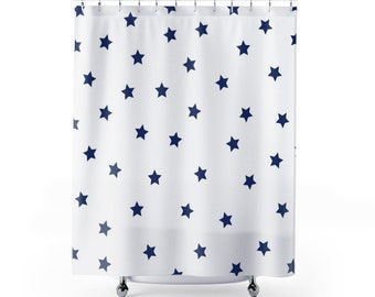 Kids Shower Curtain Stars Curtains Unisex Bathroom Decor Fabric Navy And White Vintage Minimalist