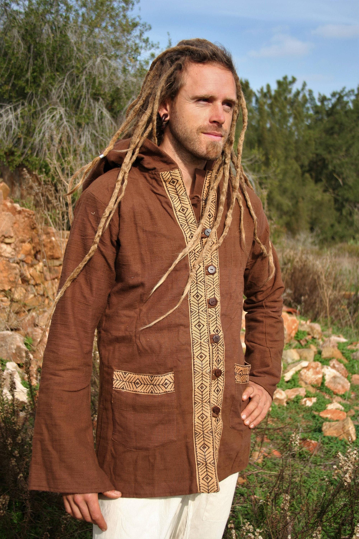 Eco Hippie Veste terreux Handloom Boho Psy Veste Natural Khadi Coton Sweat à capuche