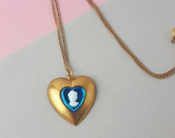 Cameo heart vintage brass necklace