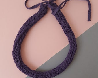 Knitted recycled fabric yarn necklace purple aubergine