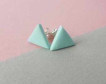 Simple stud earrings pale blue polymer clay