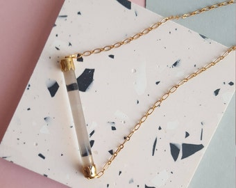 Clear glass bar vintage brass necklace