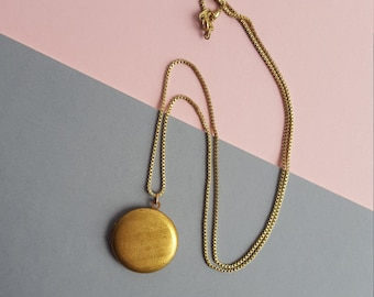 Circle locket necklace vintage brass