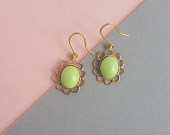 Brass and lime vintage glass drop earrings
