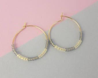 Beaded hoop gold plated earrings