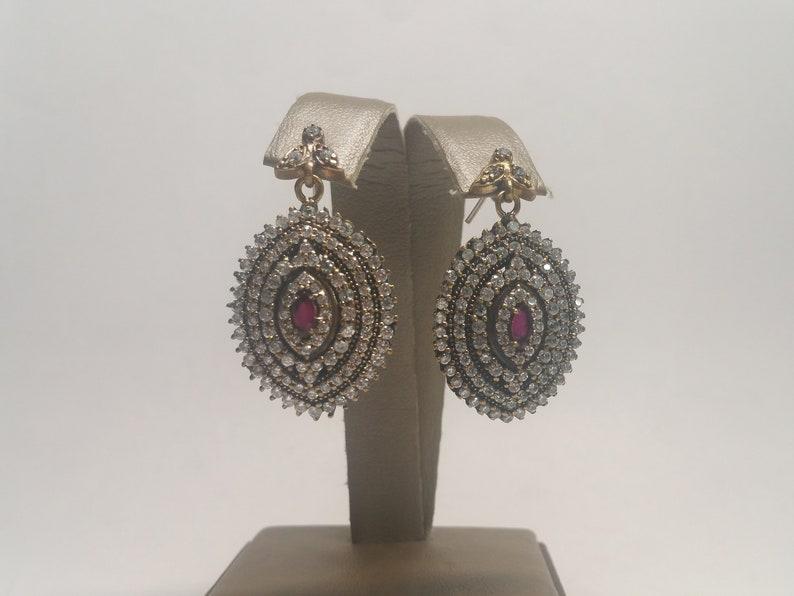 Vintage Ruby White Topaz Sterling Silver Rose Gold Tone Dangle Earrings