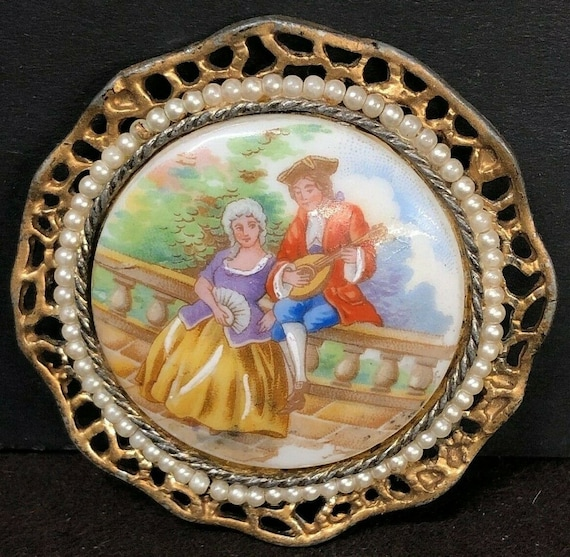 Antique Limoges Pin, France, Percaline, Hand Paint