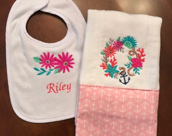 Embroidered Personalized Nautical Burp Cloth & Bib Gift Set For Baby Girl