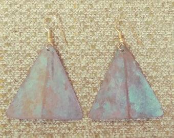 Green Oxidized Metal Triangle Drop Earrings