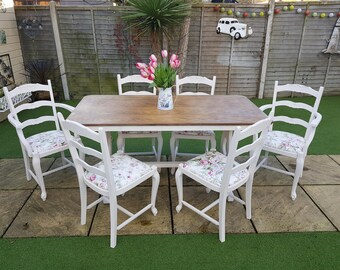 58d95a7a08bb SORRY SOLD Oak 6 seater table and chairs shabby chic hand painted in cream  2 carvers included