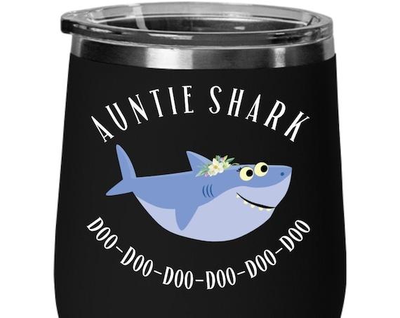 Auntie Shark Gift for Aunt Wine Tumbler Aunt Shark Mug for Auntie Gift Baby Shark Gift From Niece Nephew Aunt Birthday Gift for Auntie Mug