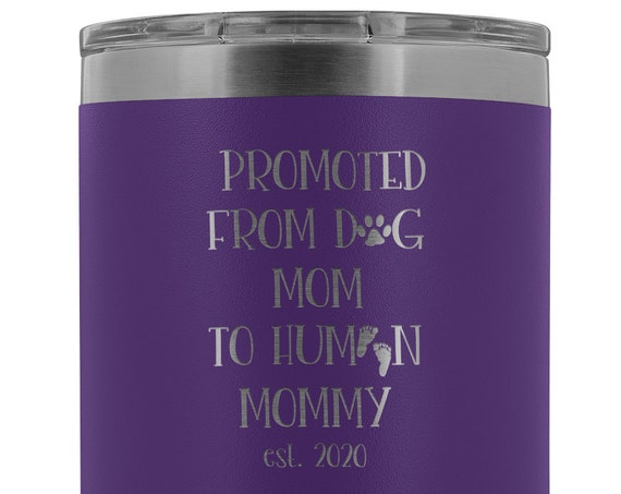 New Mom Gift for Mommy Est. 2020 Tumbler Baby Announcement Mom To Be Gift New Mommy Mug Pregnancy Gift Promoted From Dog Mom to Human Mommy