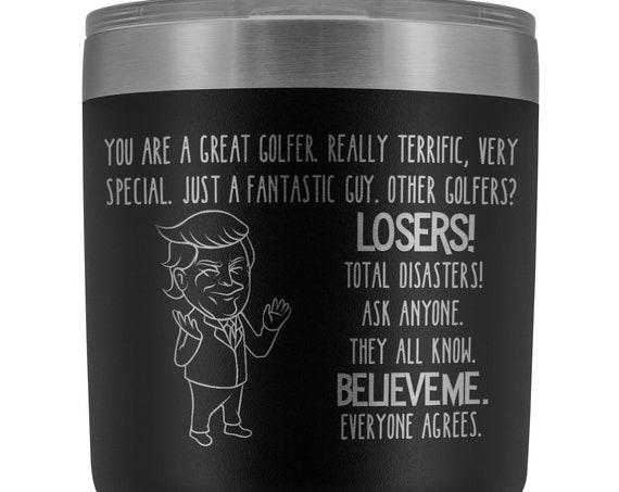 Golf Gifts for Men Trump Golfing Tumbler Gift for Men Golfers Travel Mug for Women Golf Lover Gift Funny Coffee Mug Insulated Tumblers