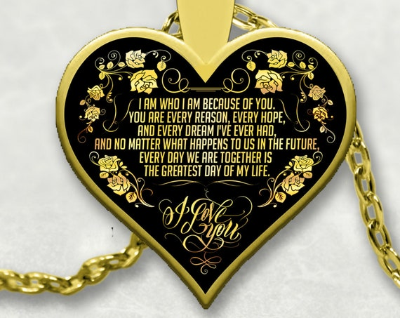 Because of You - Sentimental Gift For Significant Other - Heart Gold Medallion - Valentines Day Gift Anniversary Gift
