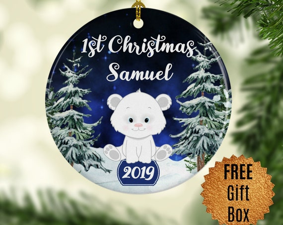 Polar Bear Ornament Personalized Babys First Christmas Ornament Tree Decoration Custom Baby Shower Gift for Boy Round Decoration
