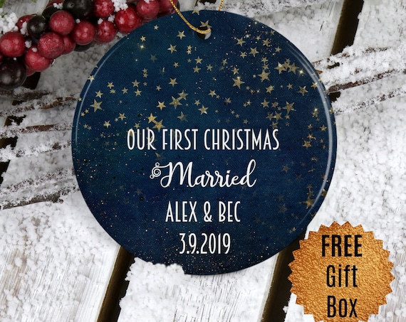 Personalized Our First Christmas Married Ornament Starry Night Elegant Ornament Newlywed Gift Wedding Gift Minimalist Ornament Keepsake Gift
