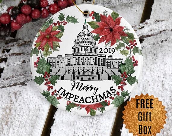 Impeach Trump Christmas Ornament Merry Impeachmas Political Gift for Him round Tree Decoration Keepsake Ornament 2019 Holiday Ornament