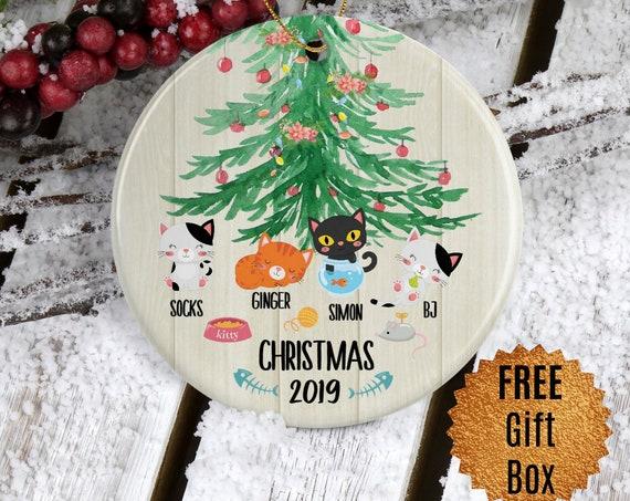 Custom Cat Ornament Gift for Cat Mom Gift for Cat Lover Gift Personalized Christmas Ornament for Family Gift