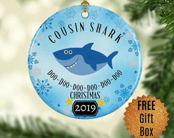 Cousin Shark Ornament Blue Shark Gift for Him Round Decoration for Male Cousin Doo Doo Keepsake Ornament Cousin Gift for Cousin Baby Shark