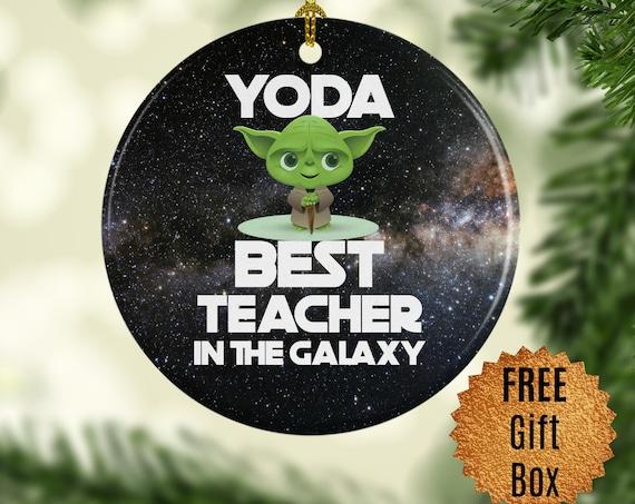 Teacher Gifts for Teacher Thank You Teacher Christmas Ornament Yoda Best Teacher Special Gift for Her Personalized Keep Sake for Teachers
