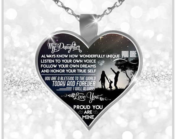 BEST SELLER: To My Daughter Gift Necklace Proud You Are Mine Silver Heart Pendant Gift to Step Daughter Veteran Daughter I Love My Daughter